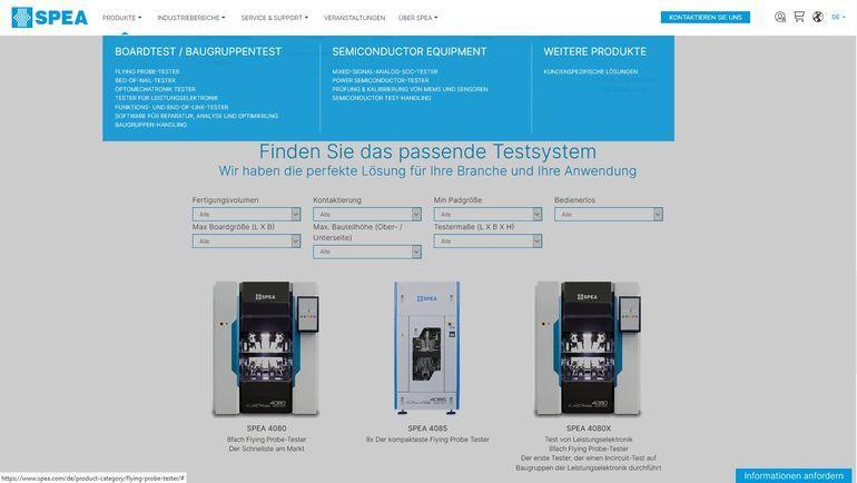Spea Webseite Testsysteme