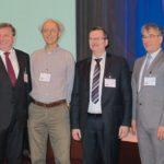 V.l.n.r.: Dr. Ronald Schnabel (Geschäftsführer GMM), Johann Weber, Prof. Dr. Wolfgang Ertel, Prof. Dr. Mathias Nowottnick, Prof. Dr. Oliver Ambacher, Prof. Klaus-Dieter Lang (Leiter Fraunhofer IZM).