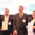 V.l.n.r.: Johann Weber, David Schütze mit EBL-Preis für Nachwuchsforscher, Prof. Dr.-Ing. Martin Schneider-Ramelow (Stellvertrender Leiter Fraunhofer IZM), Nadine Philippin mit Best Paper Award, Prof. Dr. Mathias Nowottnick.