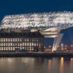 BEL,_Belgien,_Antwerpen,_Neubau_des_Hafenhauses_der_Hafenverwaltung_auf_dem_alten_Hansa_Haus,_Architektur_von_Zaha_Hadid_2016_|_BEL,_Belgium,_Antwerp,_Port_House,_new_headquarter_for_Antwerp_Port_Authority_built_on_top_of_the_old_Hansa_House,_architecture
