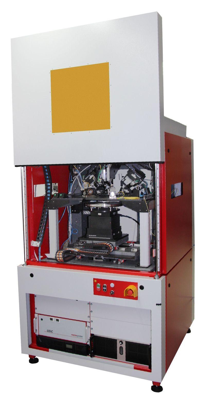 Opto-elektronischer Test für VCSEL-Laser auf Wafer-Ebene.